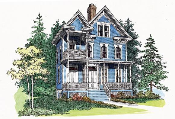 Country, Southern House Plan 95191 with 3 Beds, 4 Baths Elevation