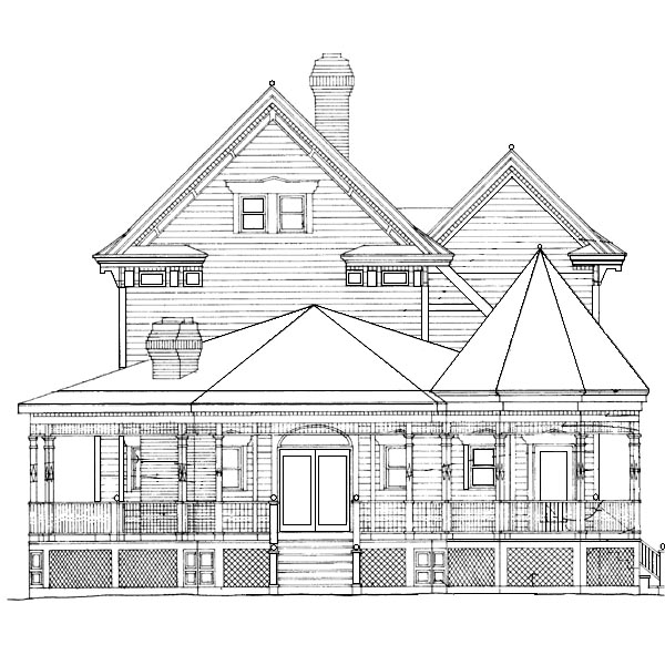 Country, Southern House Plan 95191 with 3 Beds, 4 Baths Rear Elevation