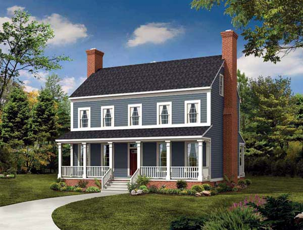 Colonial Country House Plan 95219 Elevation