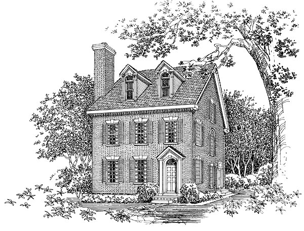 Colonial, Narrow Lot House Plan 95224 with 2 Beds, 4 Baths Elevation