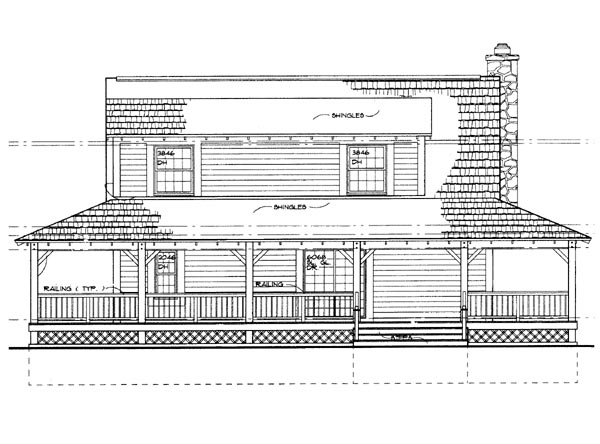 Country House Plan 95250 with 3 Beds, 3 Baths Rear Elevation