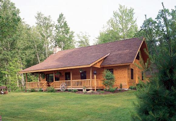 Cabin, Ranch House Plan 95255 with 2 Beds, 3 Baths Elevation