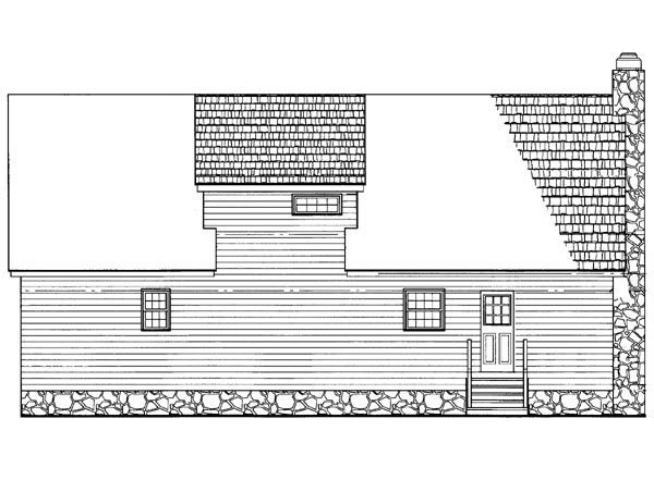Cabin Ranch Rear Elevation of Plan 95255