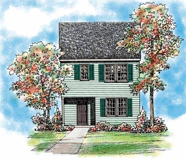 Traditional House Plan 95266 with 3 Beds, 3 Baths, 1 Car Garage Elevation
