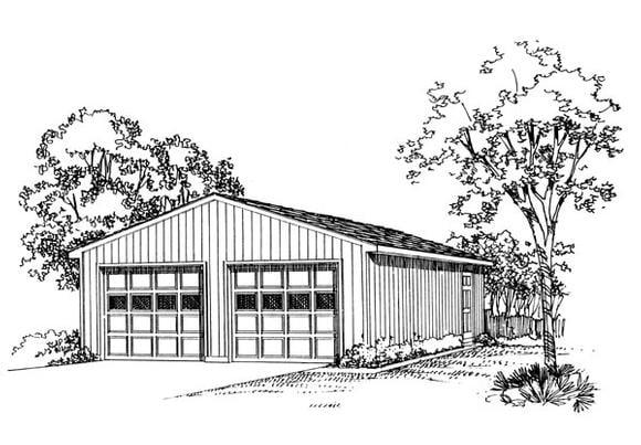 2 Car Garage Plan 95293 Elevation