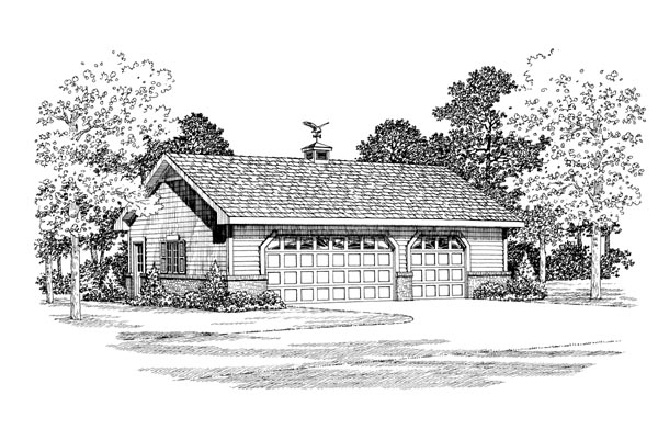 3 Car Garage Plan 95299 Elevation