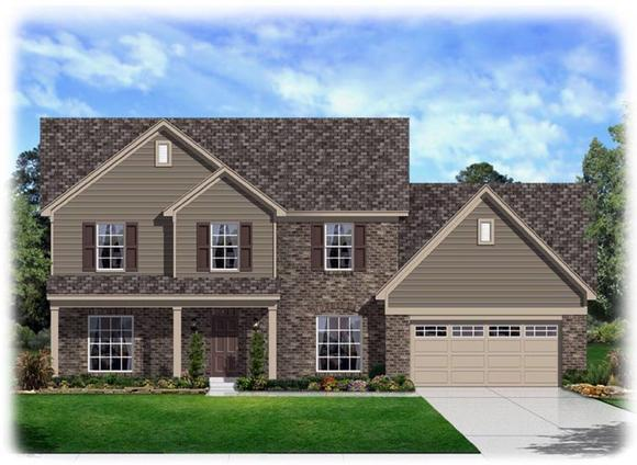 Traditional House Plan 95341 with 4 Beds, 3 Baths, 2 Car Garage Elevation