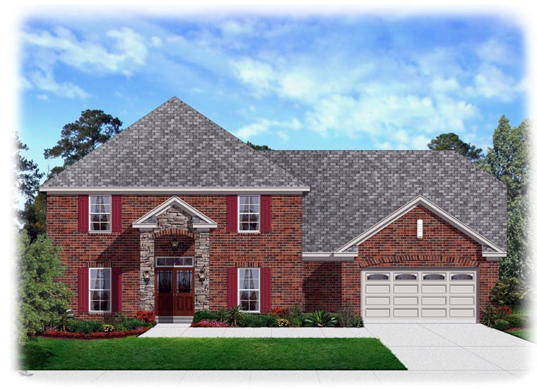 Traditional House Plan 95344 with 4 Beds, 3 Baths, 2 Car Garage Elevation