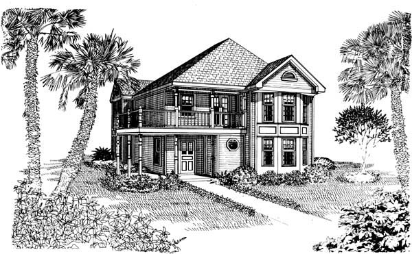 Cottage, Country, Narrow Lot House Plan 95538 with 3 Beds, 2 Baths Elevation