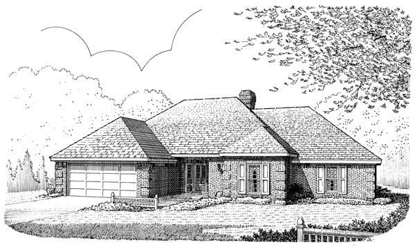 European House Plan 95552 Elevation