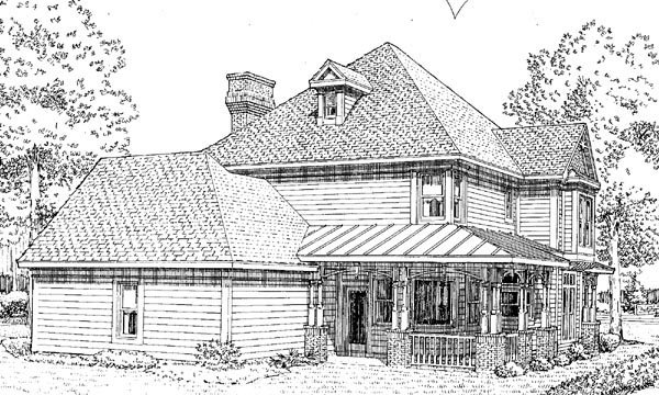 Country Farmhouse Victorian House Plan 95560 Rear Elevation