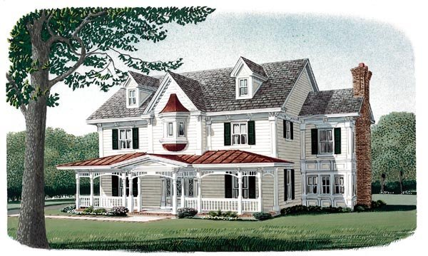 Country Farmhouse Victorian House Plan 95573 Elevation