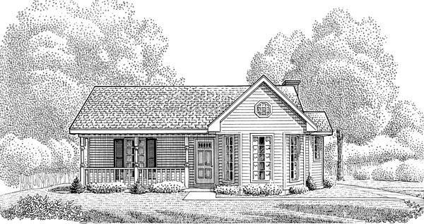 Country, Narrow Lot, One-Story House Plan 95602 with 3 Beds, 2 Baths, 2 Car Garage Elevation