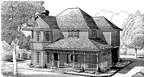 Country Farmhouse Victorian House Plan 95621 Elevation