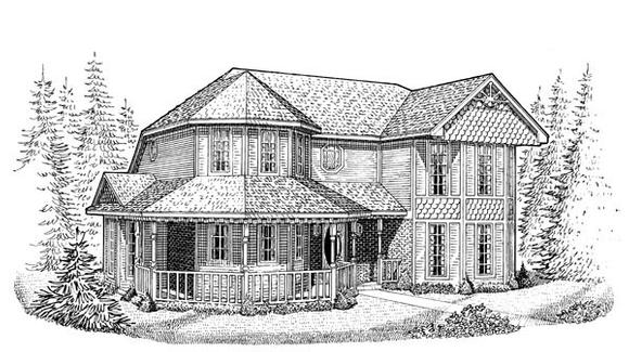 Country, Farmhouse, Victorian House Plan 95630 with 3 Beds, 3 Baths, 2 Car Garage Elevation