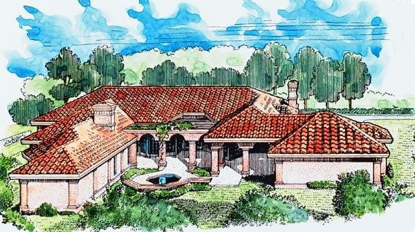 Florida Mediterranean House Plan 95652 Rear Elevation
