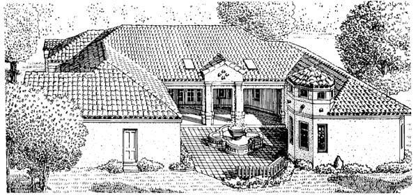 Southwest House Plan 95662 with 3 Beds, 3 Baths, 2 Car Garage Rear Elevation