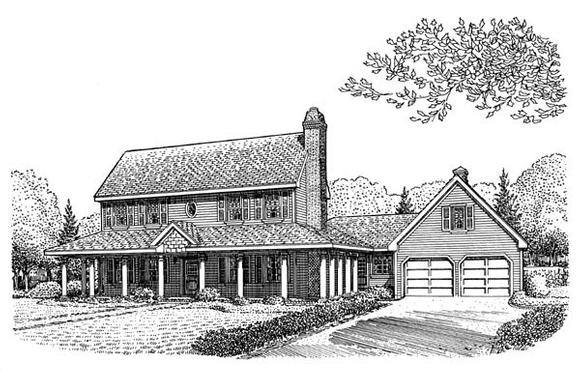 Country, Farmhouse House Plan 95665 with 4 Beds, 3 Baths, 2 Car Garage Elevation