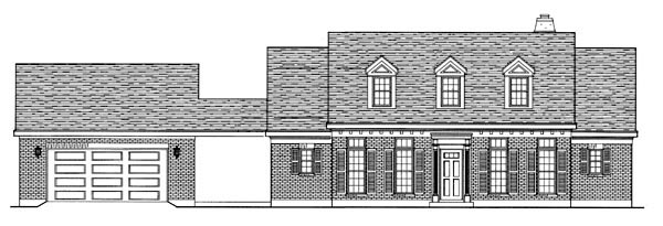 Cape Cod Colonial House Plan 95723 Elevation