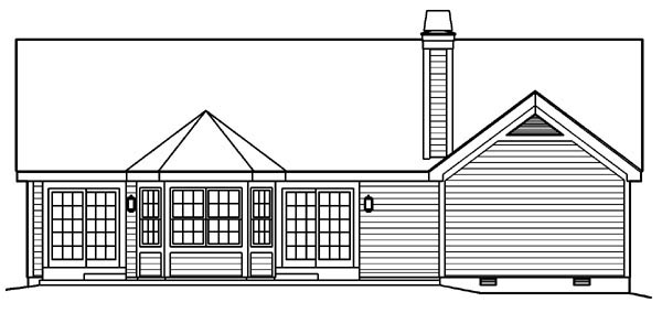 Country, Traditional House Plan 95801 with 3 Beds, 2 Baths, 2 Car Garage Rear Elevation
