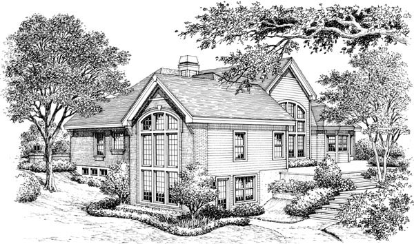 Ranch Traditional House Plan 95803 Rear Elevation