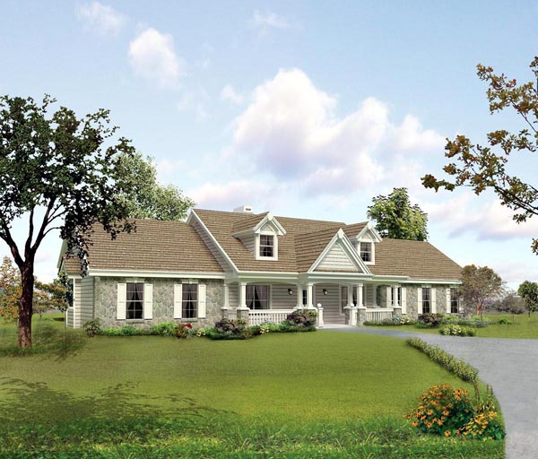 Cape Cod Country Ranch Southern Traditional House Plan 95806 Elevation
