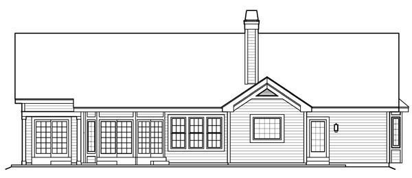Ranch Traditional House Plan 95808 Rear Elevation