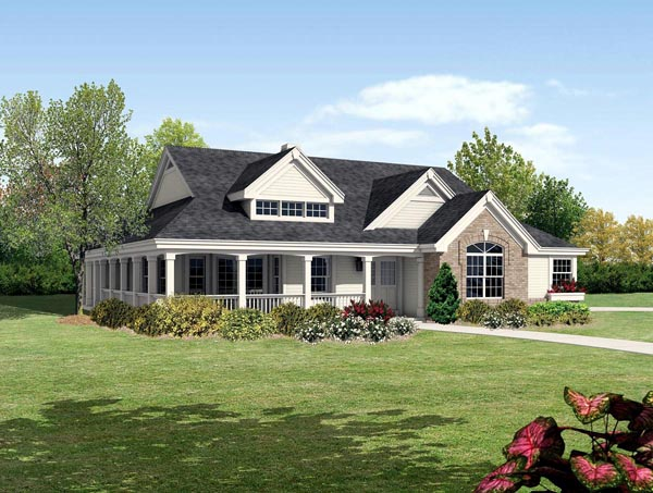 Bungalow cabin cottage country ranch traditional house for Cottage ranch house plans