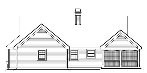 Bungalow Cabin Cottage Country Ranch Traditional House Plan 95810 Rear Elevation
