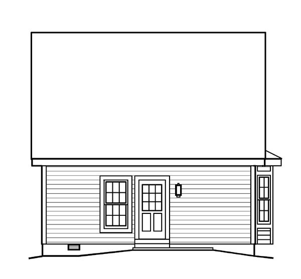 Rear Elevation of Bungalow   Country   Ranch   Saltbox   Traditional   House Plan 95813