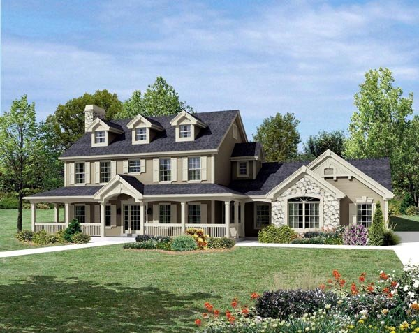 cape cod colonial country farmhouse house plan 95822 elevation - Farmhouse Plans