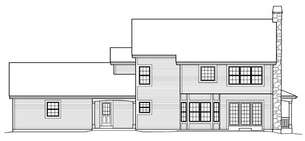 Cape Cod Colonial Country Farmhouse House Plan 95822 Rear Elevation