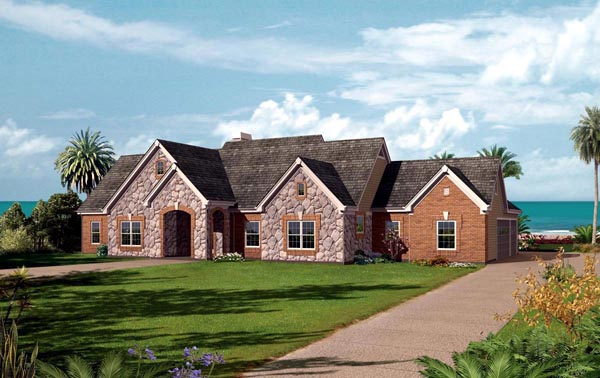 Country Ranch Traditional House Plan 95824 Elevation