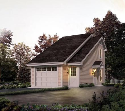 Country, Saltbox 1 Car Garage Apartment Plan 95826 with 1 Beds, 1 Baths