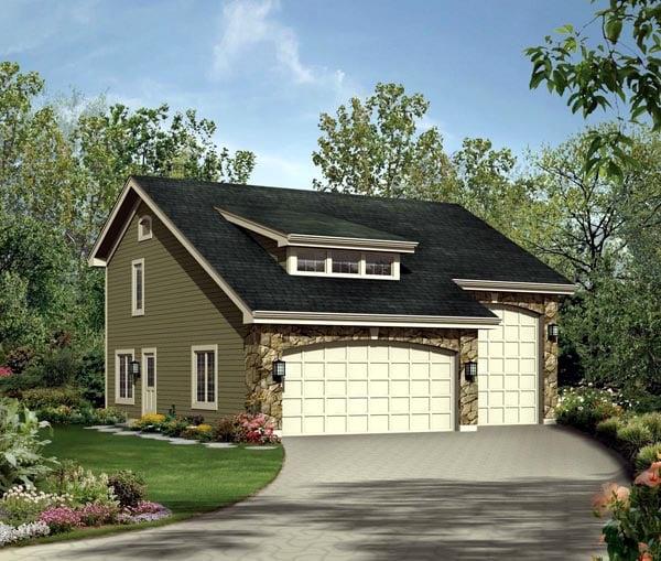 Cabin Cottage Country Craftsman Garage Plan 95827 Elevation