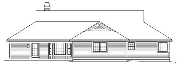 Country Ranch House Plan 95842 Rear Elevation
