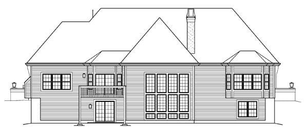Ranch Tudor House Plan 95845 Rear Elevation