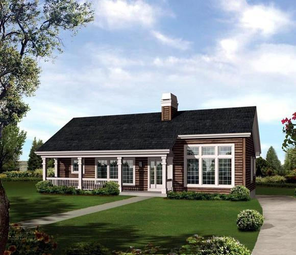 Contemporary, Country, Ranch House Plan 95852 with 3 Beds, 3 Baths, 2 Car Garage Elevation