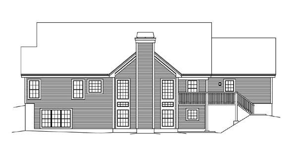European, Ranch, Traditional, Tudor House Plan 95853 with 4 Beds, 3 Baths, 2 Car Garage Rear Elevation