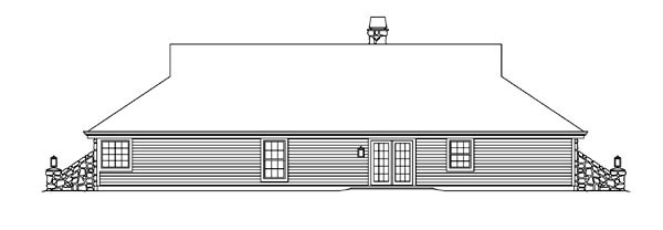 Country Ranch Traditional House Plan 95854 Rear Elevation