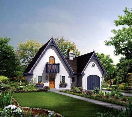 Country House Plan 95855 with 1 Beds, 1 Baths, 1 Car Garage