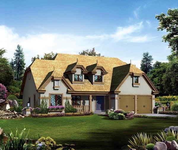 European Tudor House Plan 95856 Elevation