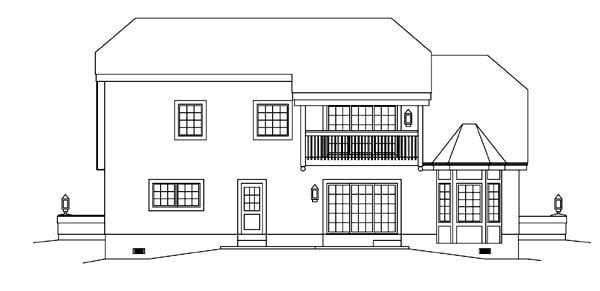 European Tudor House Plan 95856 Rear Elevation