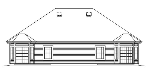 Ranch Traditional Multi-Family Plan 95863 Rear Elevation