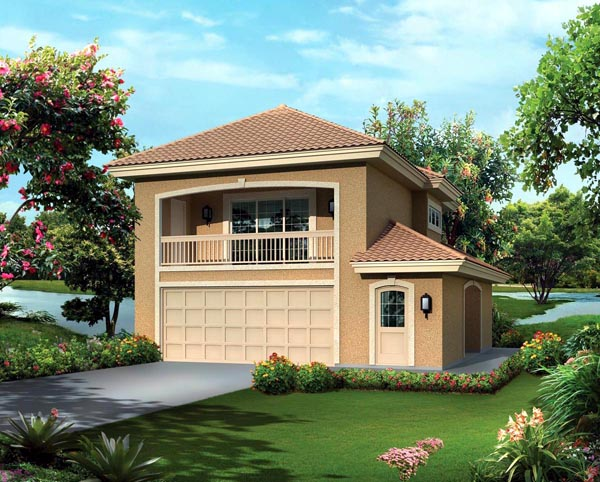 Southwest 2 Car Garage Apartment Plan 95880 with 1 Beds, 1 Baths Elevation