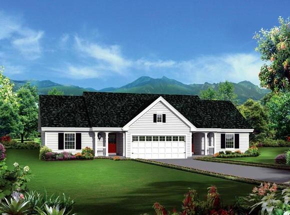Colonial, Ranch Multi-Family Plan 95881 with 4 Beds, 4 Baths, 2 Car Garage Elevation