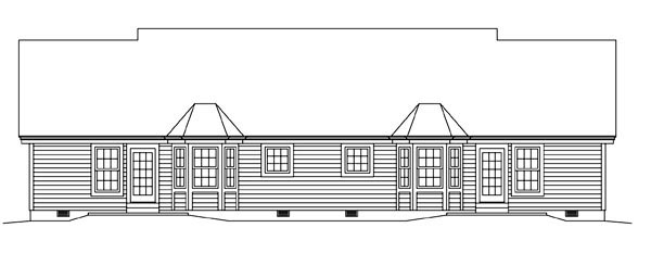 Colonial Ranch Multi-Family Plan 95881 Rear Elevation