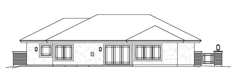 Contemporary, Prairie House Plan 95886 with 3 Beds, 3 Baths, 2 Car Garage Rear Elevation