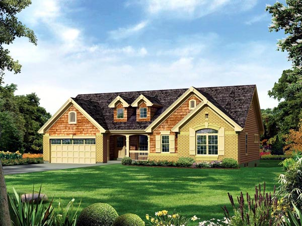Country Ranch Traditional House Plan 95887 Elevation