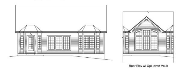 Cabin Cottage Country Ranch Traditional House Plan 95906 Rear Elevation